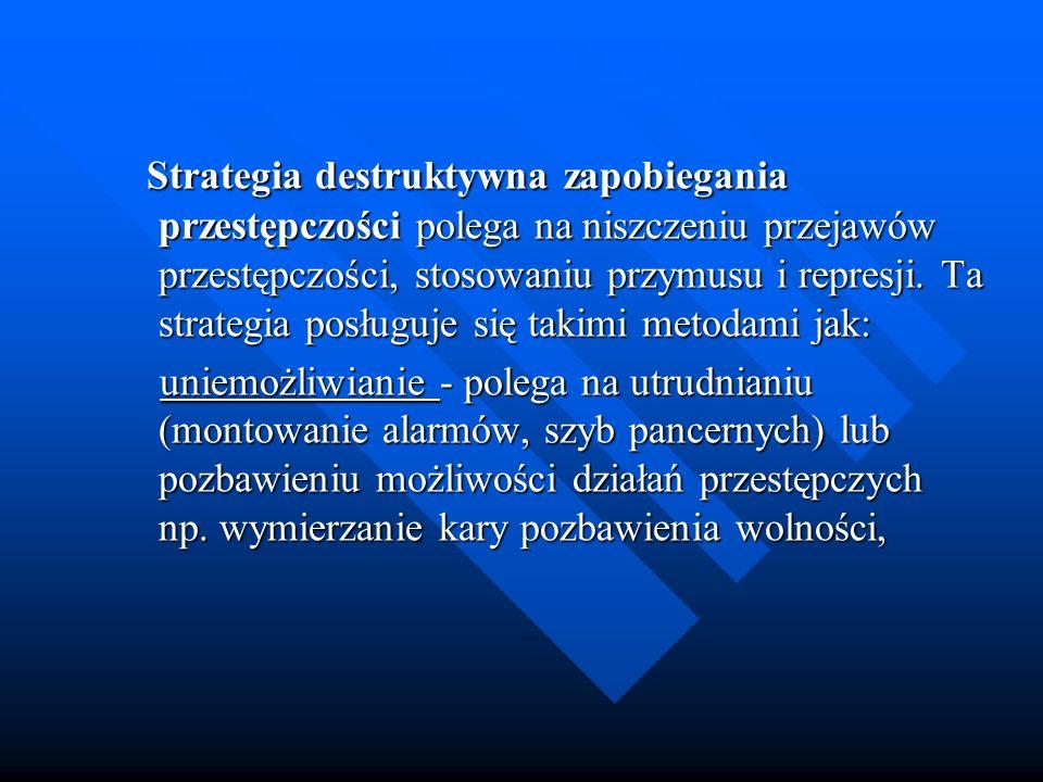 Strategia destruktywna zapobiegania przestępczości polega na niszczeniu przejawów przestępczości, stosowaniu przymusu i represji. Ta strategia posługu