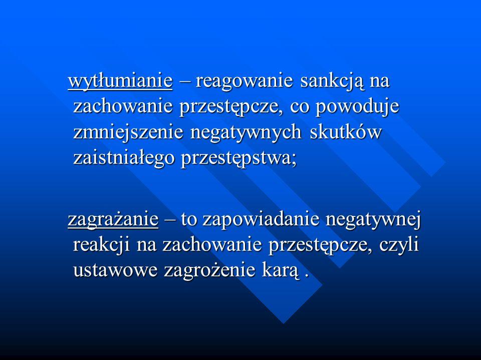 wytłumianie – reagowanie sankcją na zachowanie przestępcze, co powoduje zmniejszenie negatywnych skutków zaistniałego przestępstwa; wytłumianie – reag