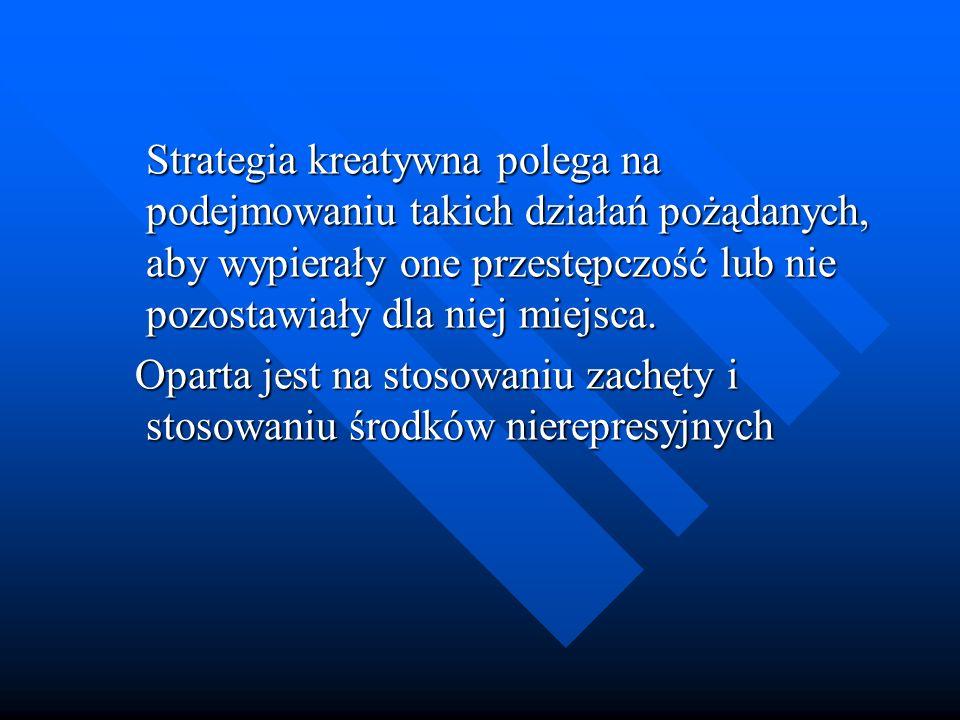 Strategia kreatywna polega na podejmowaniu takich działań pożądanych, aby wypierały one przestępczość lub nie pozostawiały dla niej miejsca. Strategia