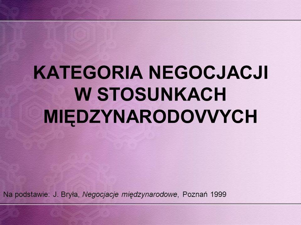 KATEGORIA NEGOCJACJI W STOSUNKACH MIĘDZYNARODOVVYCH Na podstawie: J. Bryła, Negocjacje międzynarodowe, Poznań 1999