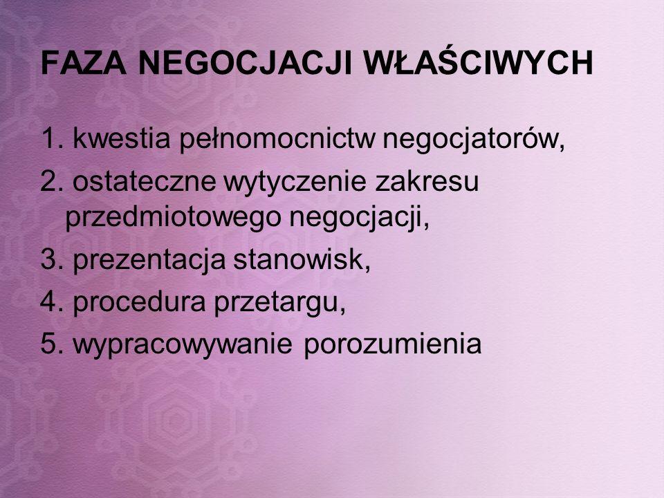 FAZA NEGOCJACJI WŁAŚCIWYCH 1. kwestia pełnomocnictw negocjatorów, 2. ostateczne wytyczenie zakresu przedmiotowego negocjacji, 3. prezentacja stanowisk