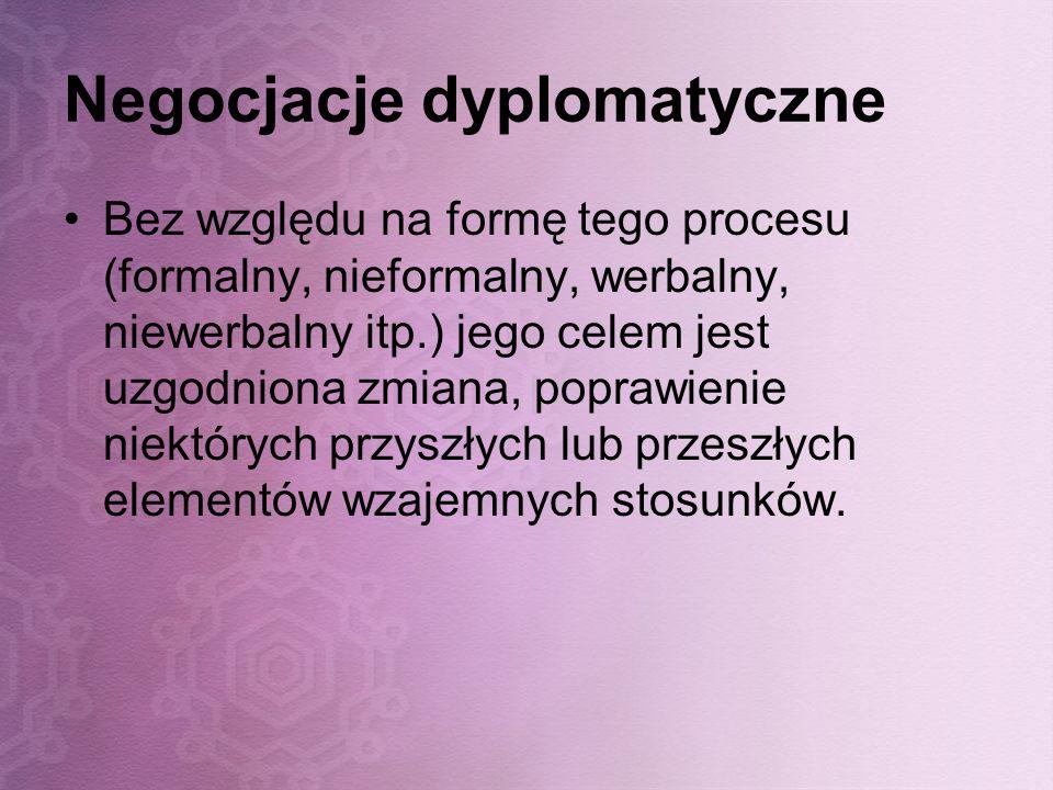 Negocjacje dyplomatyczne Bez względu na formę tego procesu (formalny, nieformalny, werbalny, niewerbalny itp.) jego celem jest uzgodniona zmiana, popr