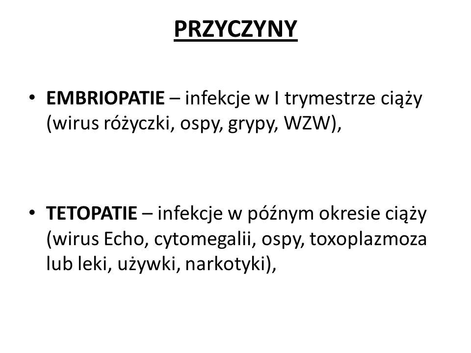PRZYCZYNY EMBRIOPATIE – infekcje w I trymestrze ciąży (wirus różyczki, ospy, grypy, WZW), TETOPATIE – infekcje w późnym okresie ciąży (wirus Echo, cyt