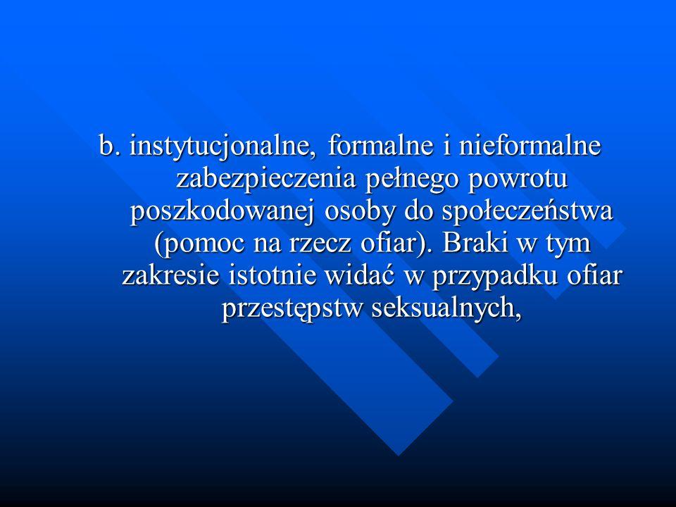 b. instytucjonalne, formalne i nieformalne zabezpieczenia pełnego powrotu poszkodowanej osoby do społeczeństwa (pomoc na rzecz ofiar). Braki w tym zak