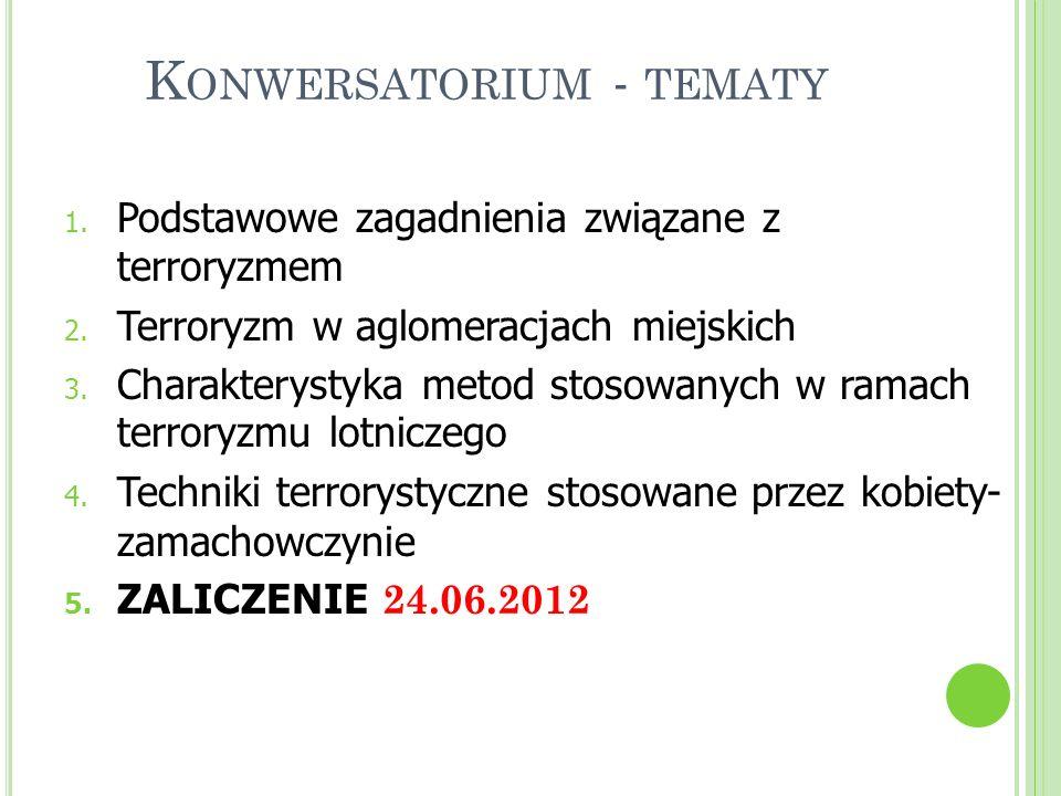 K ONWERSATORIUM - TEMATY 1. Podstawowe zagadnienia związane z terroryzmem 2. Terroryzm w aglomeracjach miejskich 3. Charakterystyka metod stosowanych