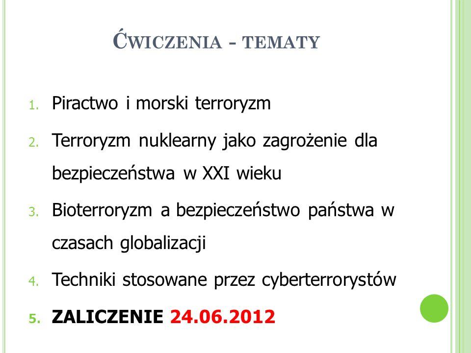 Ć WICZENIA - TEMATY 1. Piractwo i morski terroryzm 2. Terroryzm nuklearny jako zagrożenie dla bezpieczeństwa w XXI wieku 3. Bioterroryzm a bezpieczeńs