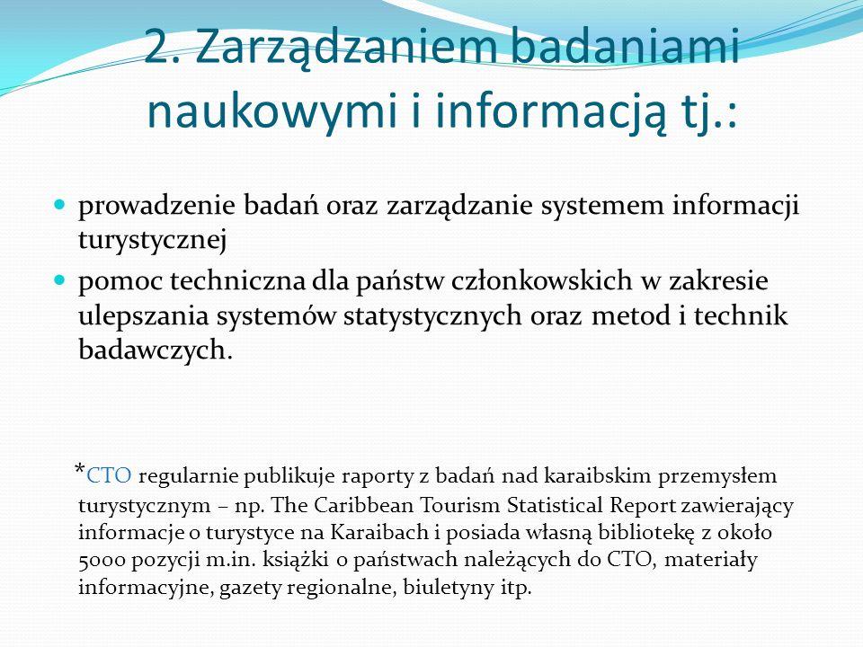 2. Zarządzaniem badaniami naukowymi i informacją tj.: prowadzenie badań oraz zarządzanie systemem informacji turystycznej pomoc techniczna dla państw