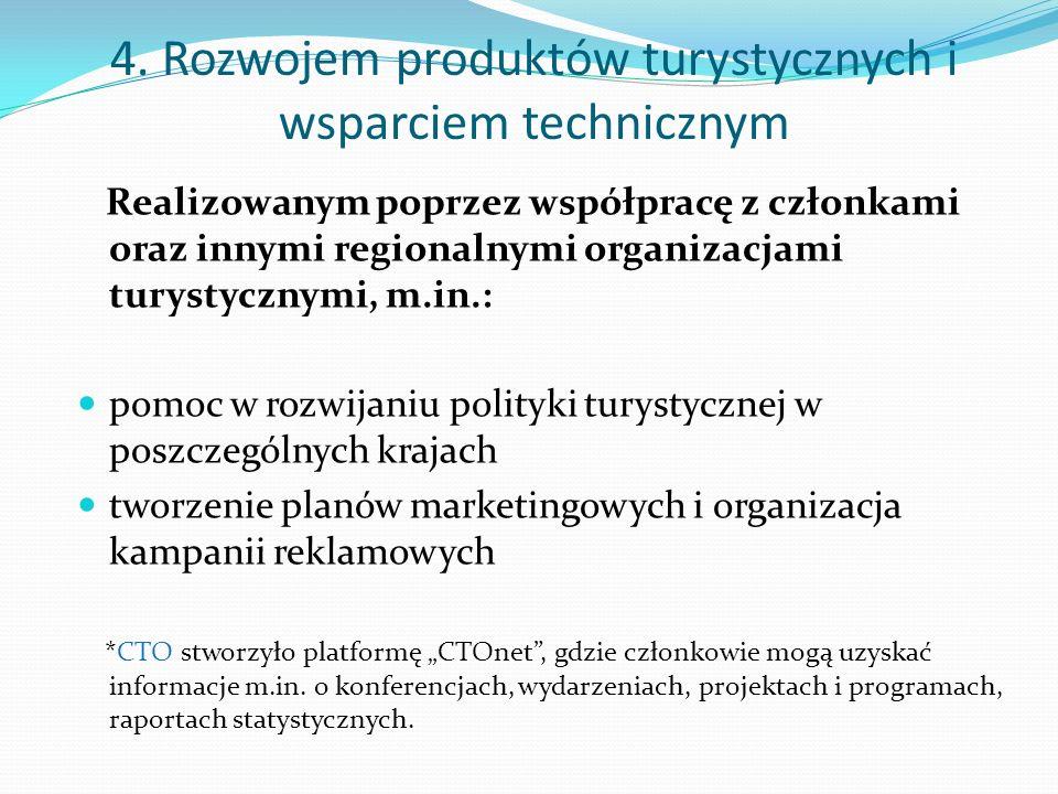 4. Rozwojem produktów turystycznych i wsparciem technicznym Realizowanym poprzez współpracę z członkami oraz innymi regionalnymi organizacjami turysty