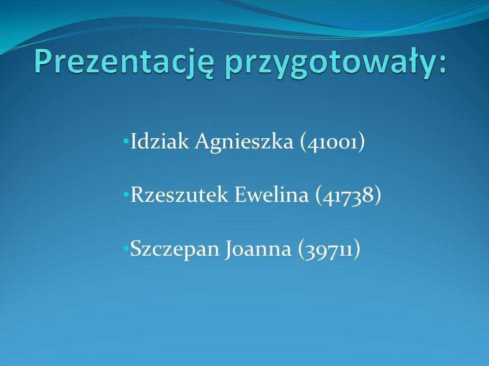 Idziak Agnieszka (41001) Rzeszutek Ewelina (41738) Szczepan Joanna (39711)