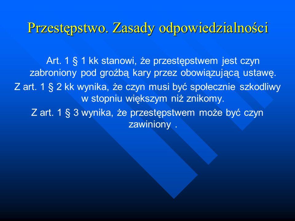 Przestępstwo. Zasady odpowiedzialności Art. 1 § 1 kk stanowi, że przestępstwem jest czyn zabroniony pod groźbą kary przez obowiązującą ustawę. Z art.