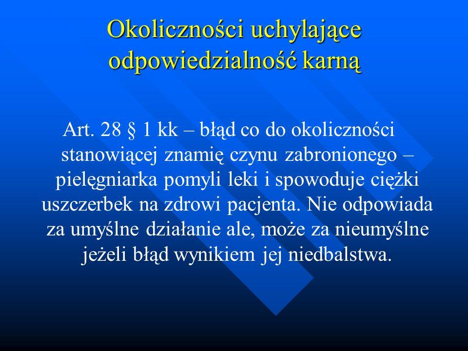 Okoliczności uchylające odpowiedzialność karną Art. 28 § 1 kk – błąd co do okoliczności stanowiącej znamię czynu zabronionego – pielęgniarka pomyli le