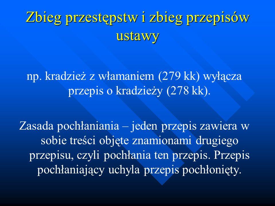 Zbieg przestępstw i zbieg przepisów ustawy np. kradzież z włamaniem (279 kk) wyłącza przepis o kradzieży (278 kk). Zasada pochłaniania – jeden przepis