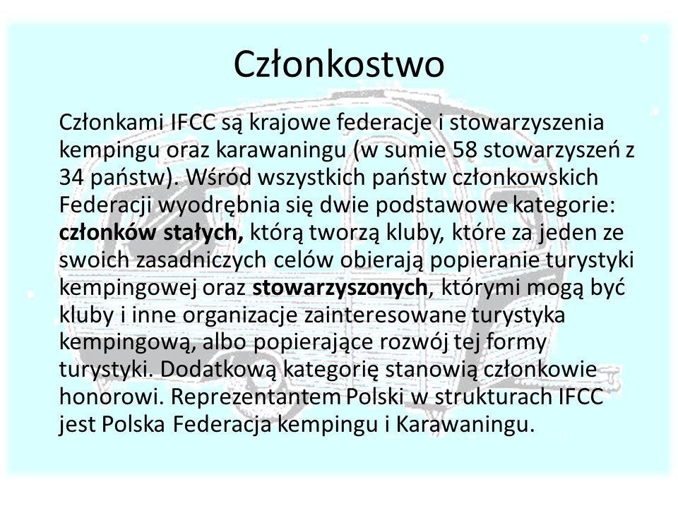 Członkostwo Członkami IFCC są krajowe federacje i stowarzyszenia kempingu oraz karawaningu (w sumie 58 stowarzyszeń z 34 państw). Wśród wszystkich pań