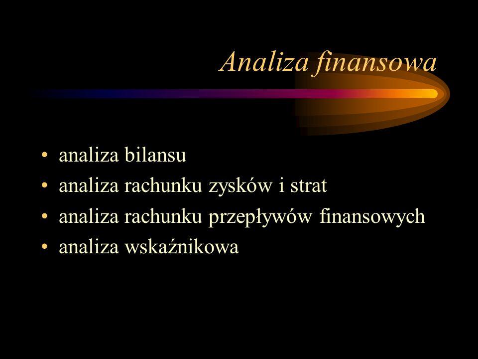 Analiza finansowa analiza bilansu analiza rachunku zysków i strat analiza rachunku przepływów finansowych analiza wskaźnikowa