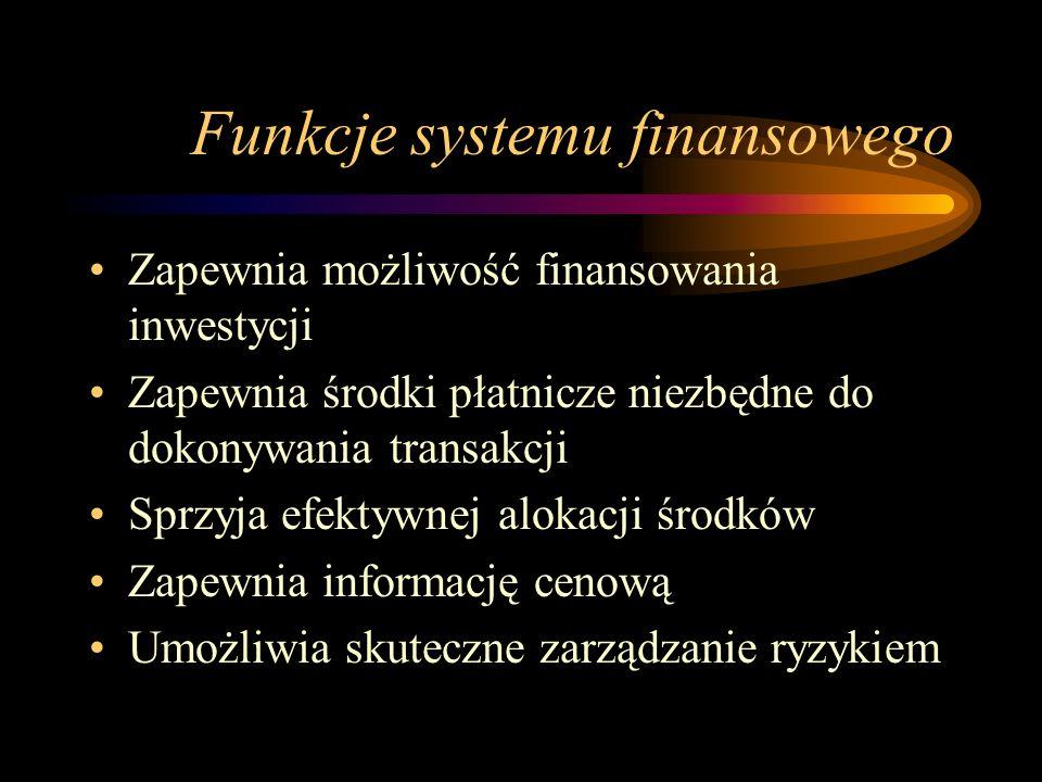 Funkcje systemu finansowego Zapewnia możliwość finansowania inwestycji Zapewnia środki płatnicze niezbędne do dokonywania transakcji Sprzyja efektywne