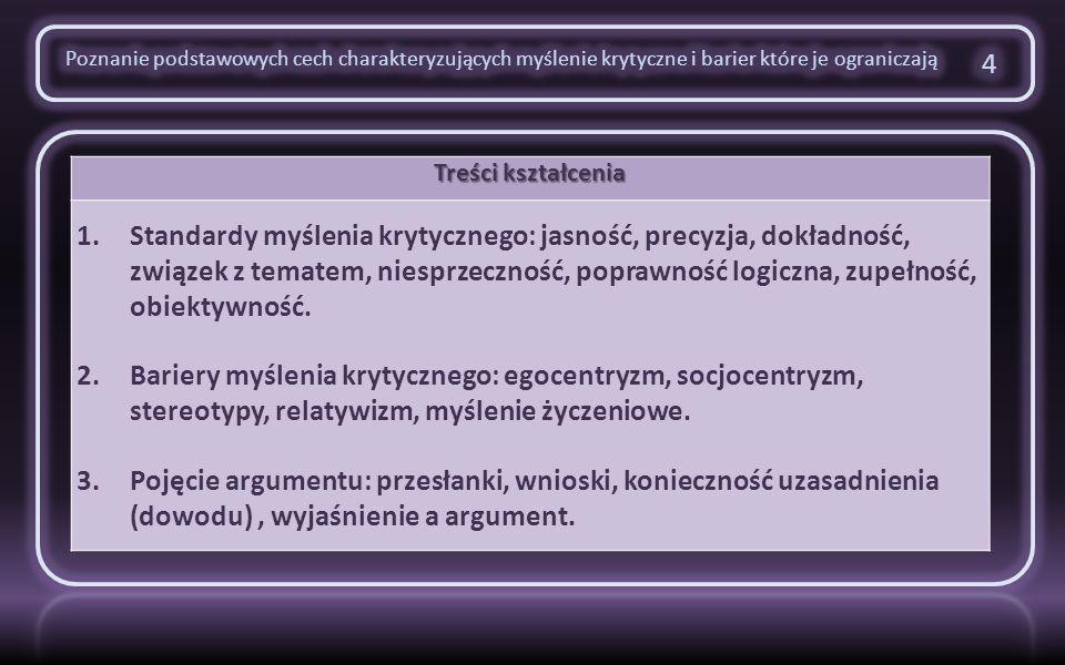 Treści kształcenia 1.Narzędzia argumentów: rozumowanie dedukcyjne a induktywne.