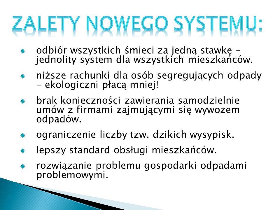 odbiór wszystkich śmieci za jedną stawkę – jednolity system dla wszystkich mieszkańców.