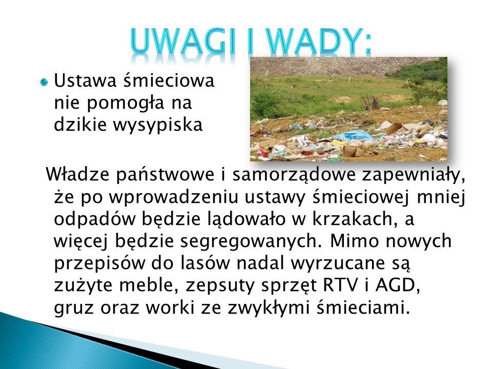 Ustawa śmieciowa nie pomogła na dzikie wysypiska Władze państwowe i samorządowe zapewniały, że po wprowadzeniu ustawy śmieciowej mniej odpadów będzie lądowało w krzakach, a więcej będzie segregowanych.