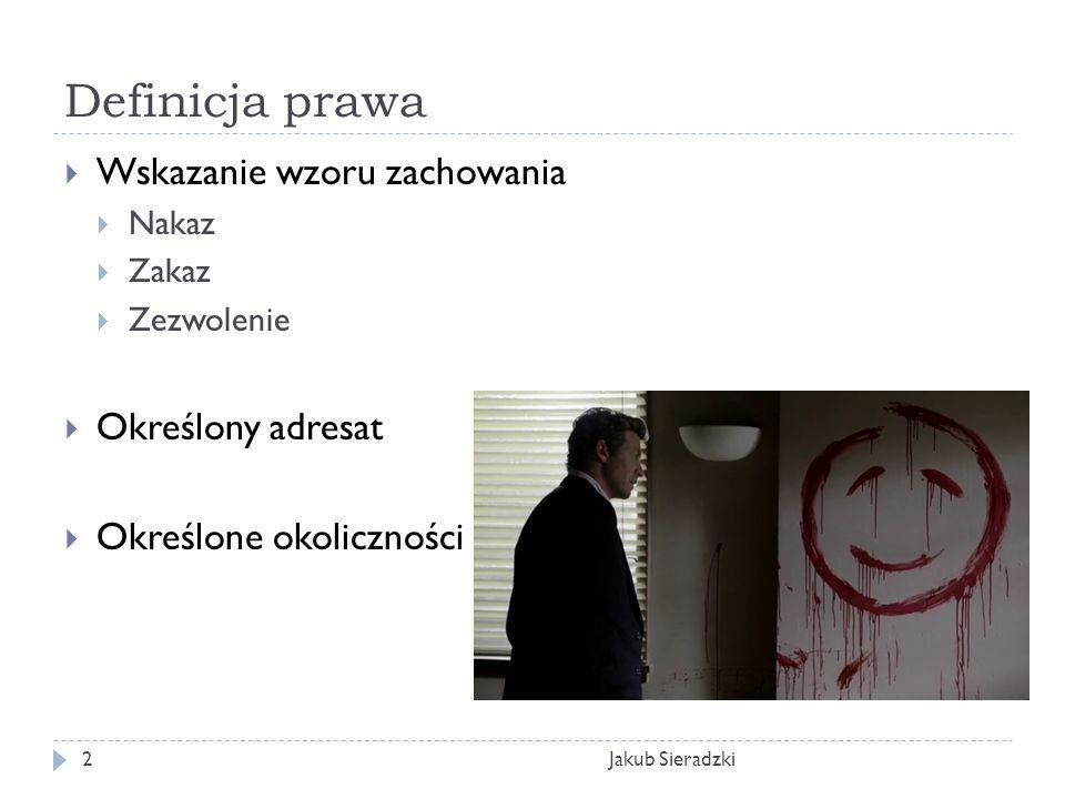 Definicja prawa Jakub Sieradzki2 Wskazanie wzoru zachowania Nakaz Zakaz Zezwolenie Określony adresat Określone okoliczności