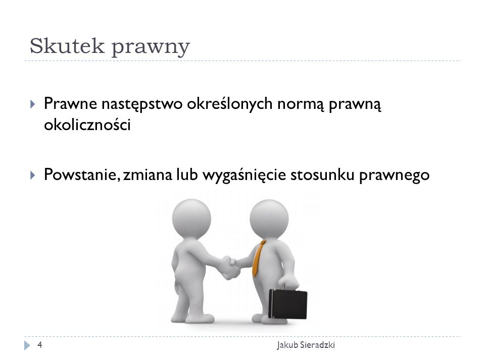 Skutek prawny Jakub Sieradzki4 Prawne następstwo określonych normą prawną okoliczności Powstanie, zmiana lub wygaśnięcie stosunku prawnego