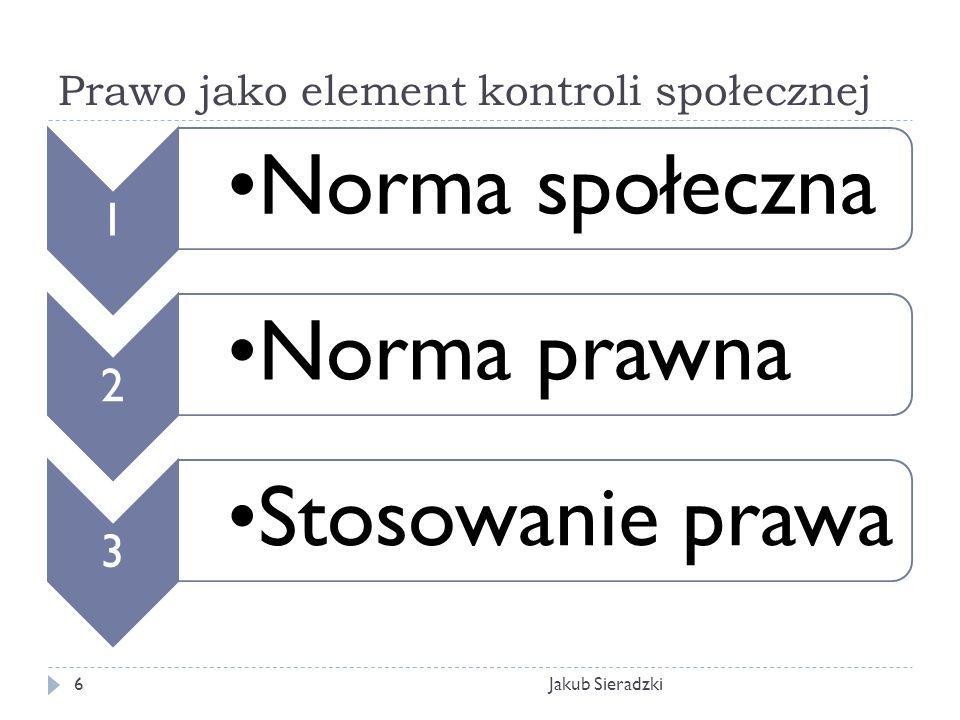 Prawo jako element kontroli społecznej Jakub Sieradzki6 1 Norma społeczna 2 Norma prawna 3 Stosowanie prawa