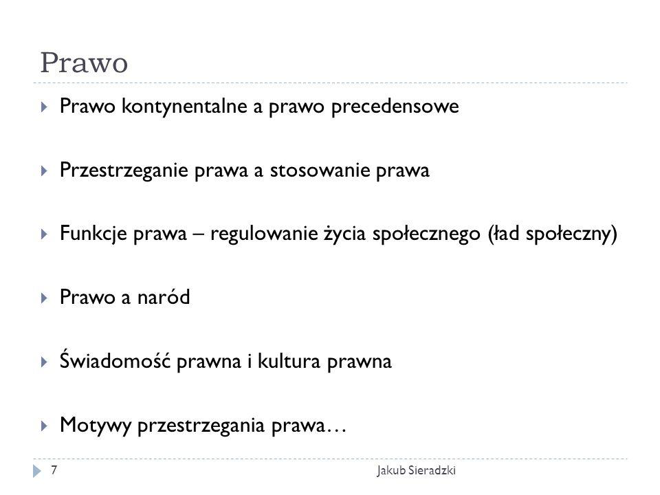 Prawo Jakub Sieradzki7 Prawo kontynentalne a prawo precedensowe Przestrzeganie prawa a stosowanie prawa Funkcje prawa – regulowanie życia społecznego