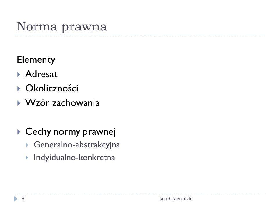 Norma prawna Jakub Sieradzki8 Elementy Adresat Okoliczności Wzór zachowania Cechy normy prawnej Generalno-abstrakcyjna Indyidualno-konkretna