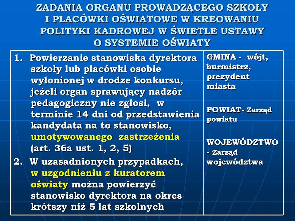 ZADANIA ORGANU PROWADZĄCEGO SZKOŁY I PLACÓWKI OŚWIATOWE W KREOWANIU POLITYKI KADROWEJ W ŚWIETLE USTAWY O SYSTEMIE OŚWIATY GMINA - wójt, burmistrz, prezydent miasta POWIAT- Zarząd powiatu WOJEWÓDZTWO - Zarząd województwa 1.