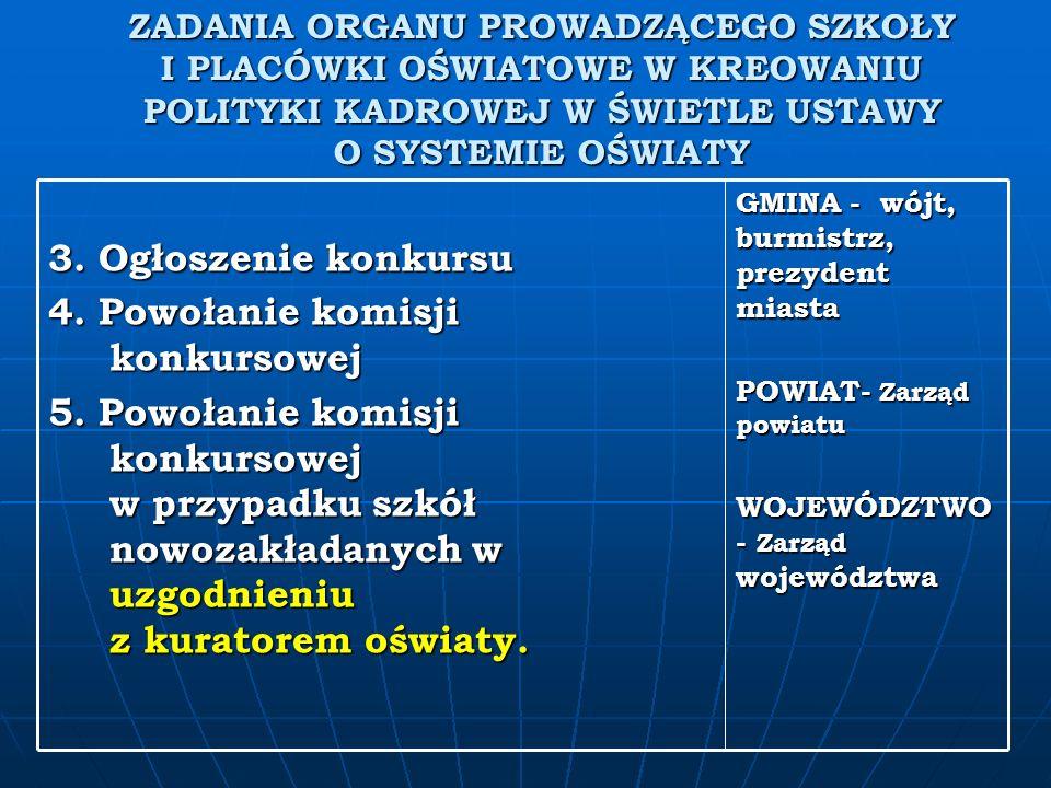 ZADANIA ORGANU PROWADZĄCEGO SZKOŁY I PLACÓWKI OŚWIATOWE W KREOWANIU POLITYKI KADROWEJ W ŚWIETLE USTAWY O SYSTEMIE OŚWIATY GMINA - wójt, burmistrz, prezydent miasta POWIAT- Zarząd powiatu WOJEWÓDZTWO - Zarząd województwa 3.