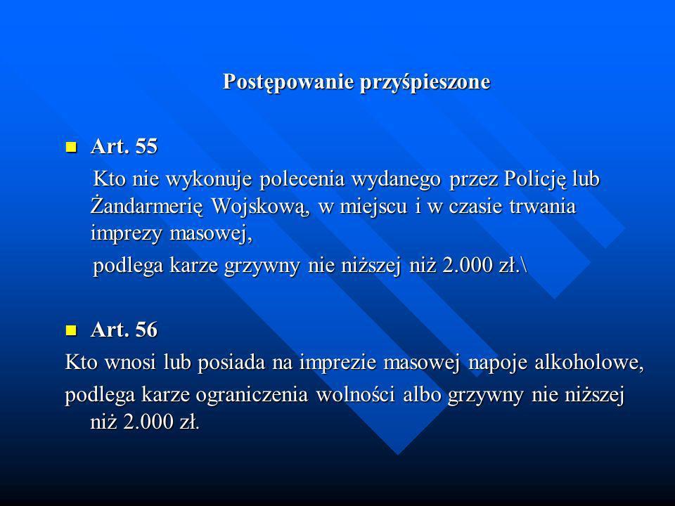 Postępowanie przyśpieszone Art. 55 Art. 55 Kto nie wykonuje polecenia wydanego przez Policję lub Żandarmerię Wojskową, w miejscu i w czasie trwania im