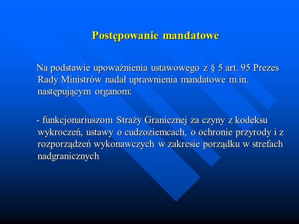Postępowanie mandatowe Na podstawie upoważnienia ustawowego z § 5 art. 95 Prezes Rady Ministrów nadał uprawnienia mandatowe m.in. następującym organom