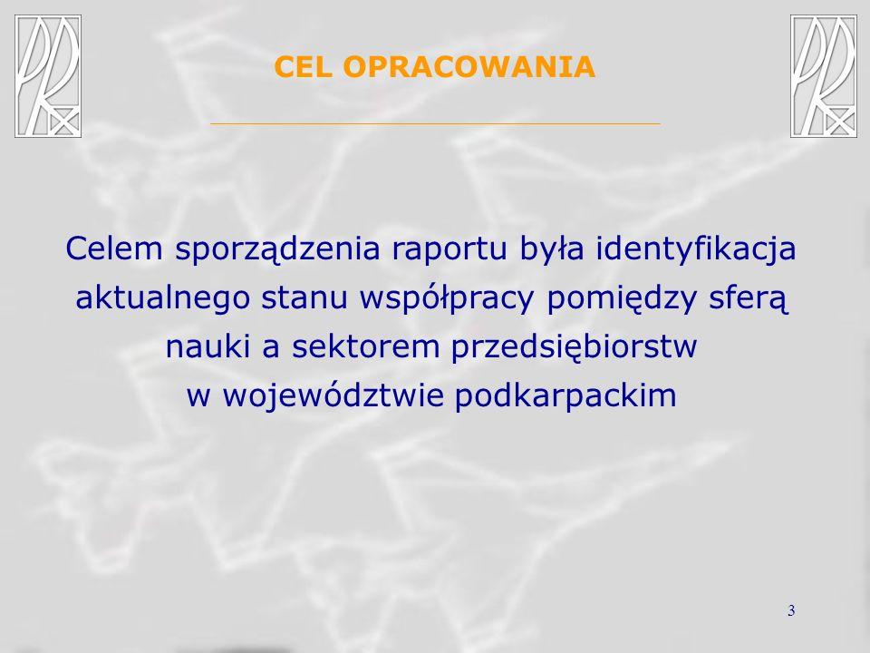 3 CEL OPRACOWANIA Celem sporządzenia raportu była identyfikacja aktualnego stanu współpracy pomiędzy sferą nauki a sektorem przedsiębiorstw w wojewódz