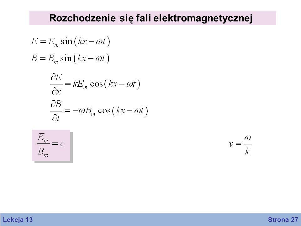 Rozchodzenie się fali elektromagnetycznej Lekcja 13 Strona 27