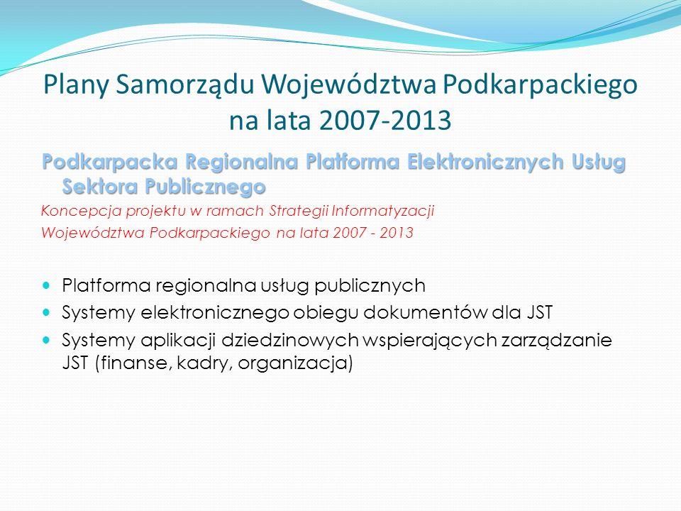 Plany Samorządu Województwa Podkarpackiego na lata 2007-2013 Podkarpacka Regionalna Platforma Elektronicznych Usług Sektora Publicznego Koncepcja projektu w ramach Strategii Informatyzacji Województwa Podkarpackiego na lata 2007 - 2013 Platforma regionalna usług publicznych Systemy elektronicznego obiegu dokumentów dla JST Systemy aplikacji dziedzinowych wspierających zarządzanie JST (finanse, kadry, organizacja)
