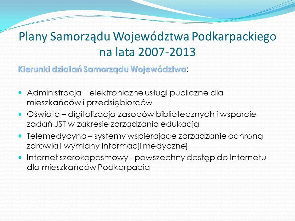 Plany Samorządu Województwa Podkarpackiego na lata 2007-2013 Sieć szerokopasmowa Polski Wschodniej Studium rozwoju sieci – grudzień 2007 Jeden wspólny projekt dla 5 Województw Szacunkowa wartość projektu - 300 mln EUR Internet szerokopasmowy dla mieszkańców zagrożonych wykluczeniem cyfrowym – ok.