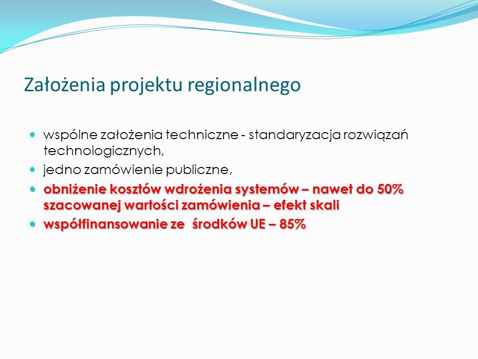 Założenia projektu regionalnego wspólne założenia techniczne - standaryzacja rozwiązań technologicznych, jedno zamówienie publiczne, obniżenie kosztów wdrożenia systemów – nawet do 50% szacowanej wartości zamówienia – efekt skali obniżenie kosztów wdrożenia systemów – nawet do 50% szacowanej wartości zamówienia – efekt skali współfinansowanie ze środków UE – 85% współfinansowanie ze środków UE – 85%
