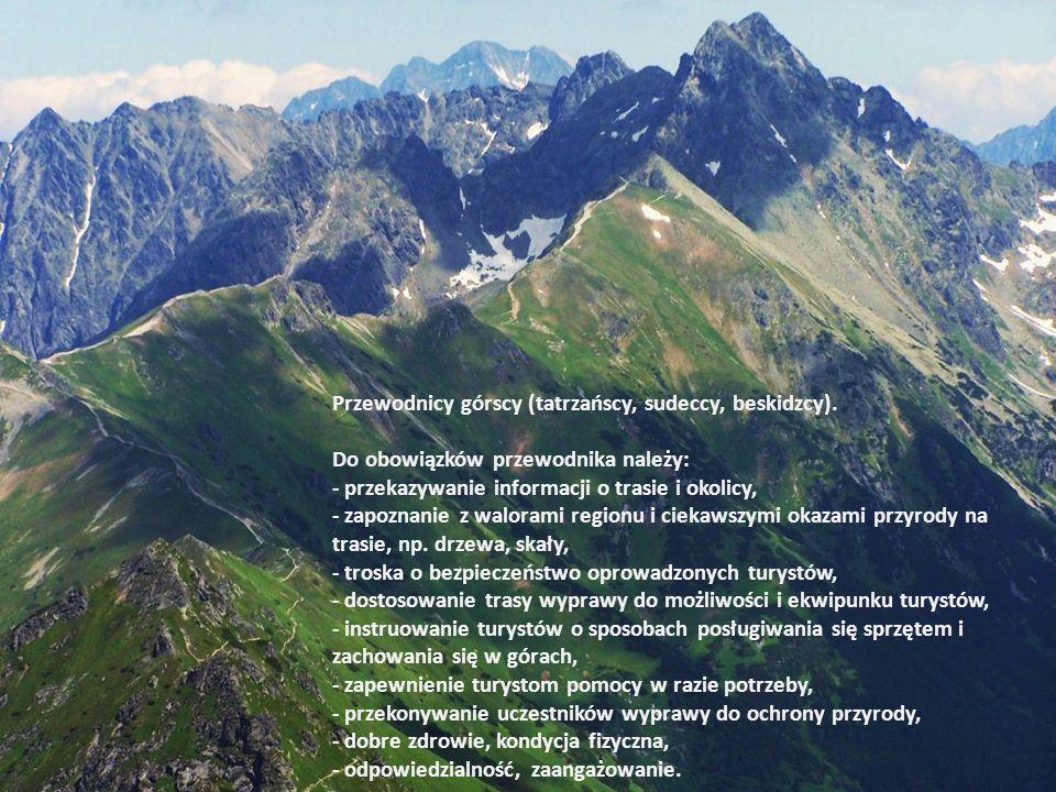 Przewodnicy górscy (tatrzańscy, sudeccy, beskidzcy). Do obowiązków przewodnika należy: - przekazywanie informacji o trasie i okolicy, - zapoznanie z w