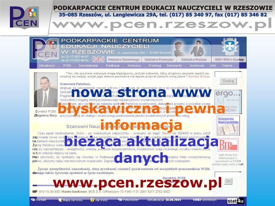 nowa strona www błyskawiczna i pewna informacja bieżąca aktualizacja danych www.pcen.rzeszow.pl