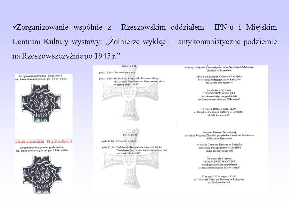 Zorganizowanie wspólnie z Rzeszowskim oddziałem IPN-u i Miejskim Centrum Kultury wystawy: Żołnierze wyklęci – antykomunistyczne podziemie na Rzeszowszczyźnie po 1945 r.