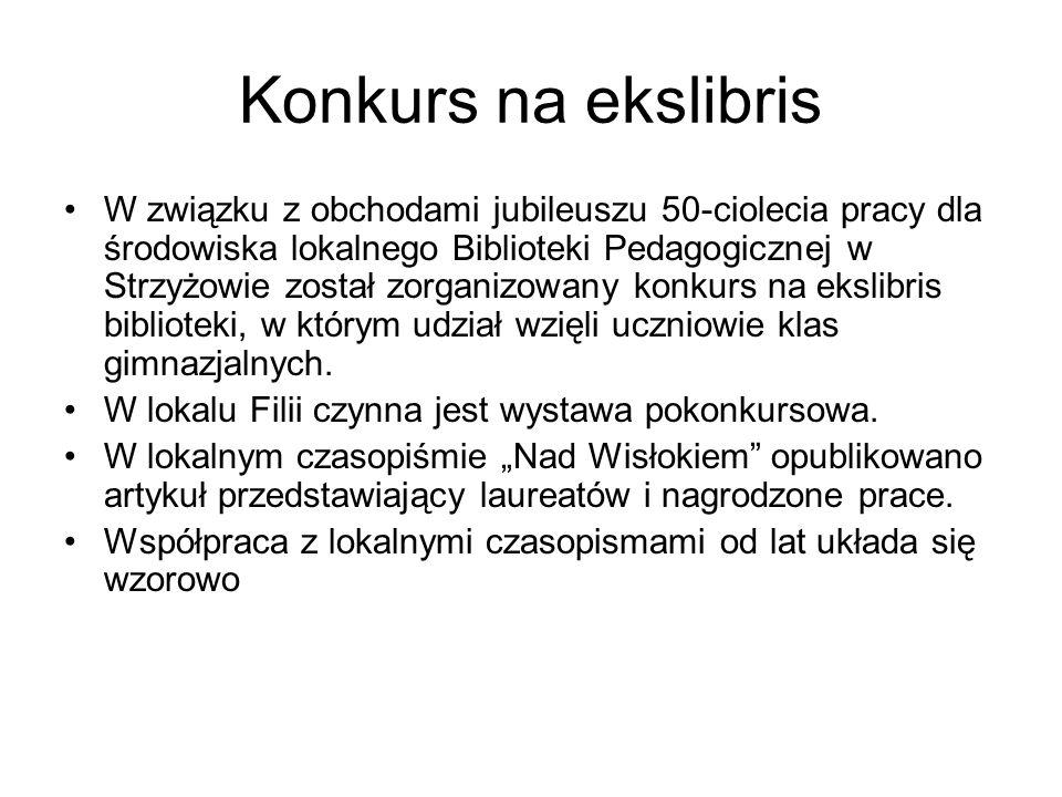 Konkurs na ekslibris W związku z obchodami jubileuszu 50-ciolecia pracy dla środowiska lokalnego Biblioteki Pedagogicznej w Strzyżowie został zorganizowany konkurs na ekslibris biblioteki, w którym udział wzięli uczniowie klas gimnazjalnych.