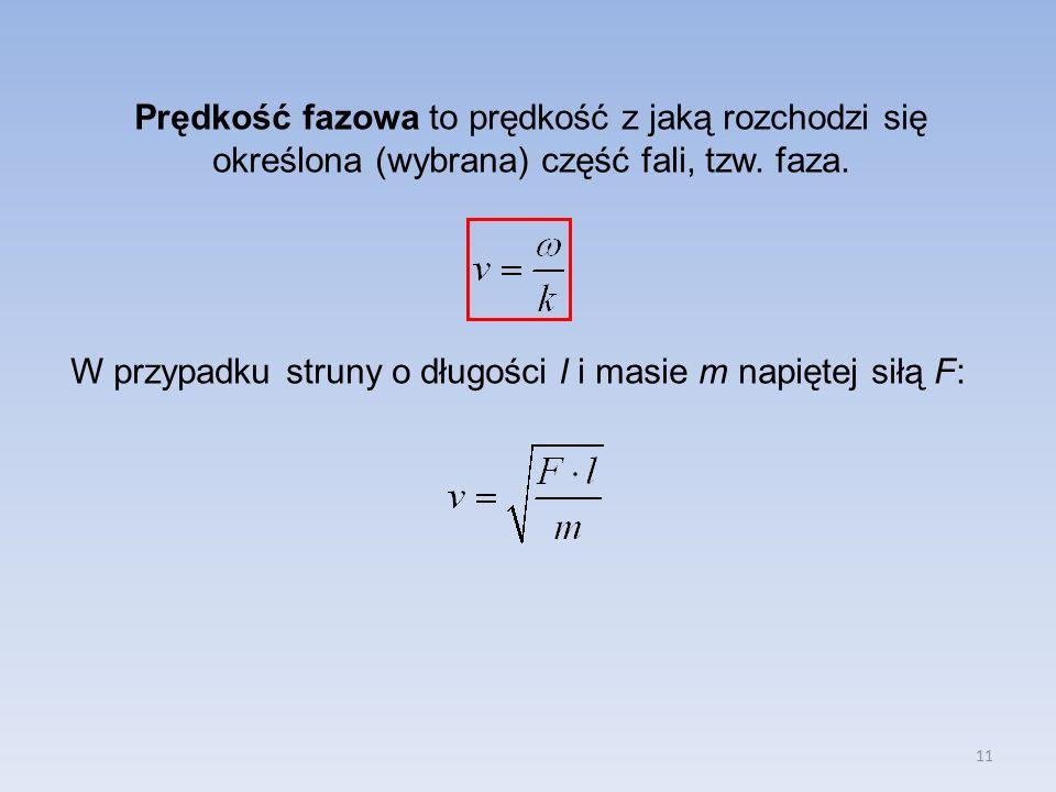 11 Prędkość fazowa to prędkość z jaką rozchodzi się określona (wybrana) część fali, tzw.