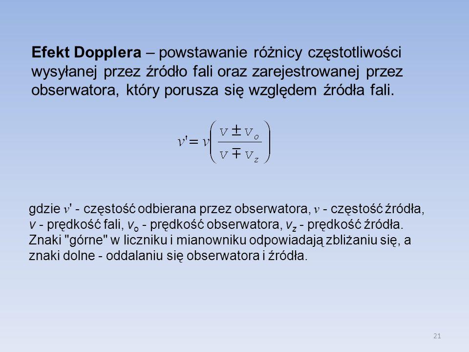 21 Efekt Dopplera – powstawanie różnicy częstotliwości wysyłanej przez źródło fali oraz zarejestrowanej przez obserwatora, który porusza się względem źródła fali.