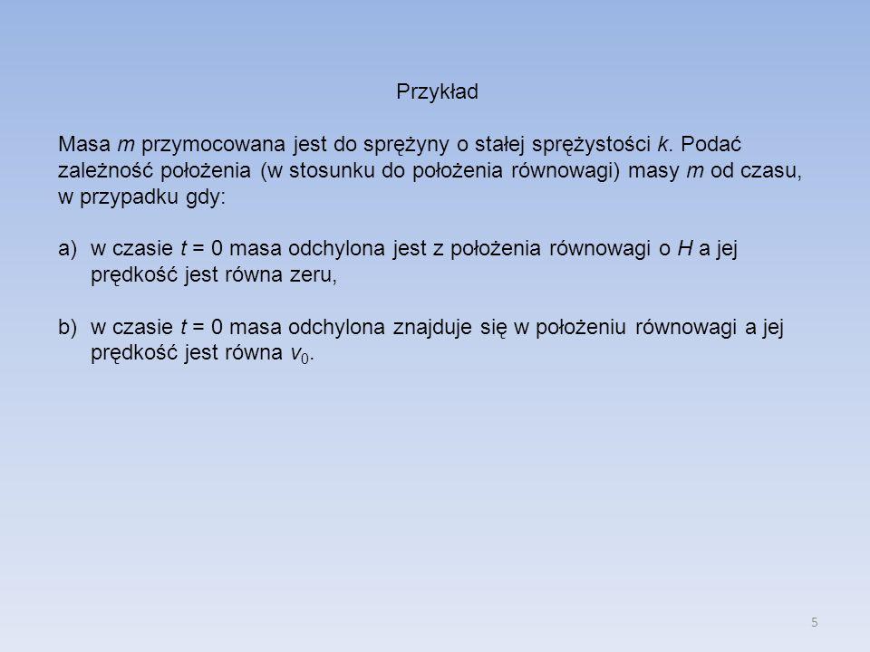 5 Przykład Masa m przymocowana jest do sprężyny o stałej sprężystości k.