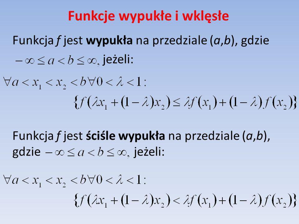 Funkcje wypukłe i wklęsłe Funkcja f jest wypukła na przedziale (a,b), gdzie jeżeli: Funkcja f jest ściśle wypukła na przedziale (a,b), gdzie jeżeli: