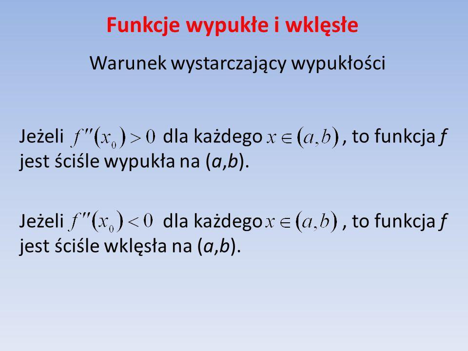 Funkcje wypukłe i wklęsłe Warunek wystarczający wypukłości Jeżeli dla każdego, to funkcja f jest ściśle wypukła na (a,b). Jeżeli dla każdego, to funkc