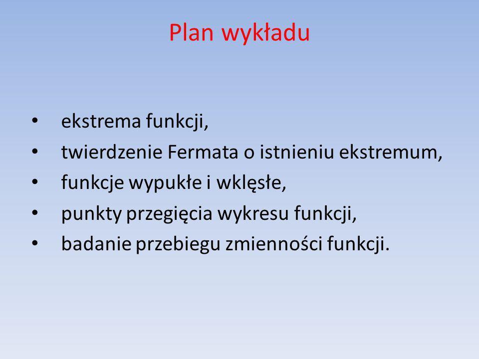 Plan wykładu ekstrema funkcji, twierdzenie Fermata o istnieniu ekstremum, funkcje wypukłe i wklęsłe, punkty przegięcia wykresu funkcji, badanie przebi