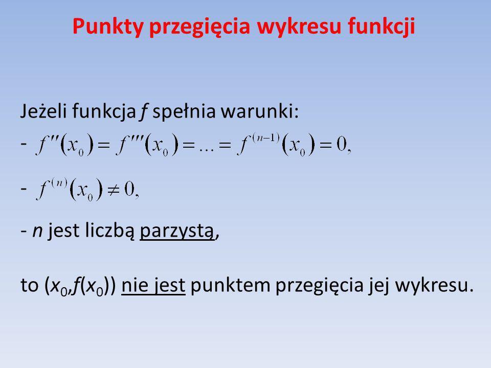 Punkty przegięcia wykresu funkcji Jeżeli funkcja f spełnia warunki: - - n jest liczbą parzystą, to (x 0,f(x 0 )) nie jest punktem przegięcia jej wykre