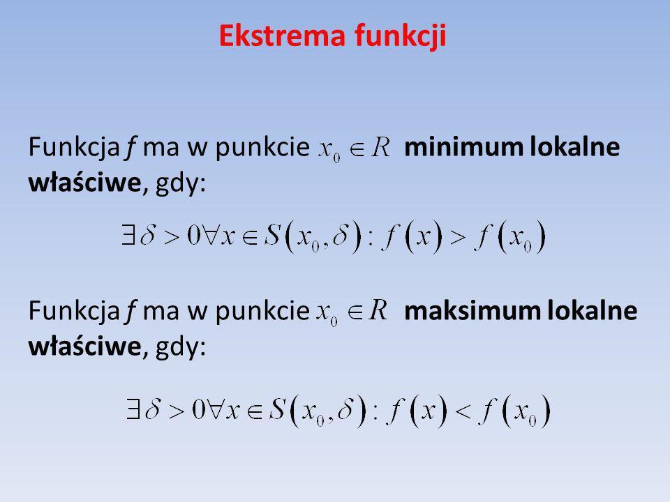 Ekstrema funkcji Funkcja f ma w punkcie minimum lokalne właściwe, gdy: Funkcja f ma w punkcie maksimum lokalne właściwe, gdy:
