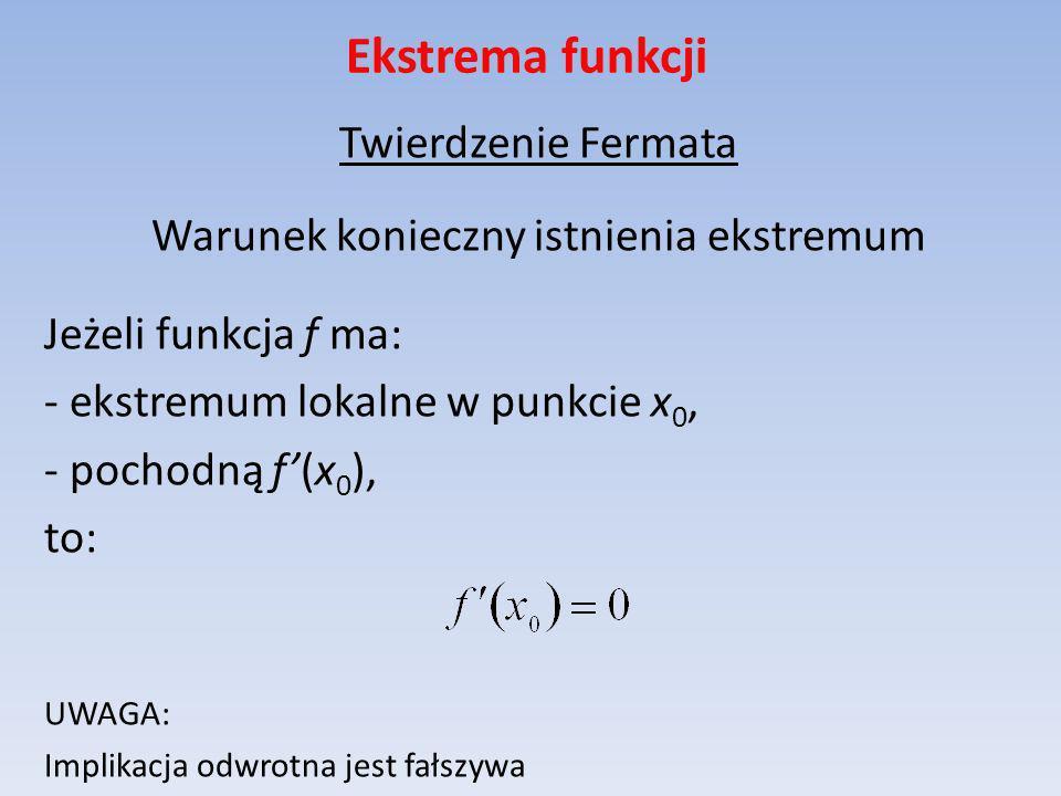 Ekstrema funkcji Twierdzenie Fermata Warunek konieczny istnienia ekstremum Jeżeli funkcja f ma: - ekstremum lokalne w punkcie x 0, - pochodną f(x 0 ),