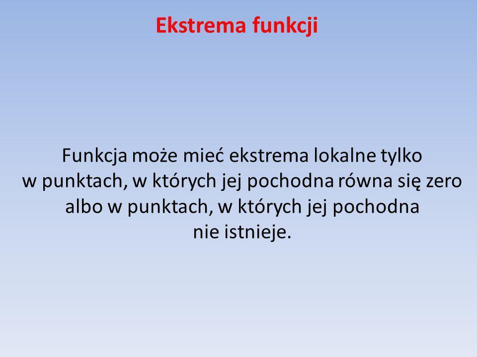 Ekstrema funkcji Funkcja może mieć ekstrema lokalne tylko w punktach, w których jej pochodna równa się zero albo w punktach, w których jej pochodna ni